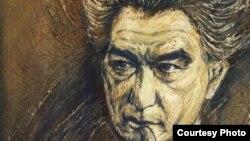 """""""Взгляд"""". Портрет Чингиза Айтматова. Фрагмент. Художник Сабиджан Бабаджанов."""