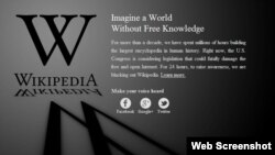 A screenshot of Wikipedia's homepage, which has gone dark in protest at proposed U.S. piracy legislation