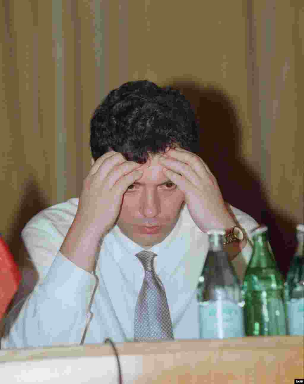 Nemtsov speaks during his first 100 days in office as deputy prime minister in 1997.