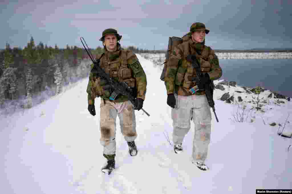U.S. Marines during a military exercise in Setermoen, in the arctic north of Norway on October 29.