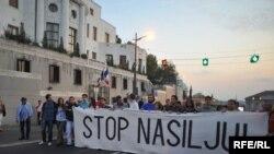 Nakon septembarskog ubistva franuskog navijača Brisa Tatona u centru Beograda usledili su brojni protesti protiv nasilja, Foto: Vesna Anđić