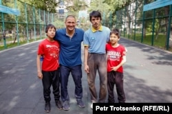 Arman Abdullakhanov with his sons in Almaty