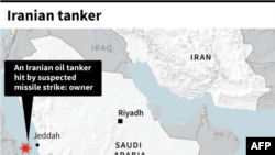 Map locating the site of an Iranian oil tanker, allegedly hit by missiles Friday according to the owners.