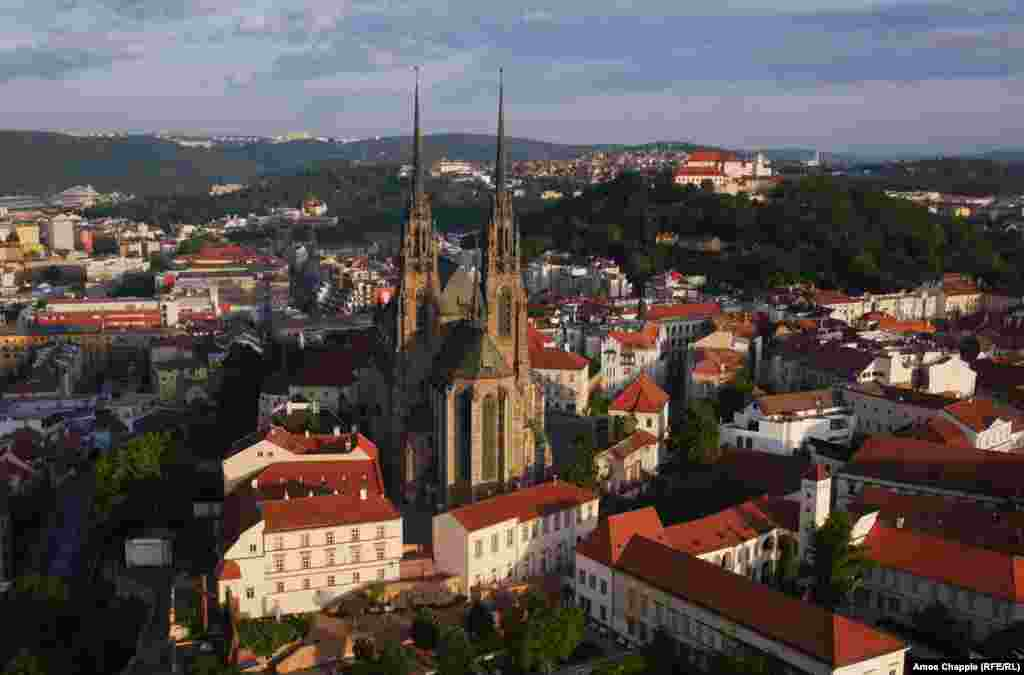 Brno, Czech Republic. The needle-sharp spires of the Cathedral of St. Peter and Paul dominate the skyline.