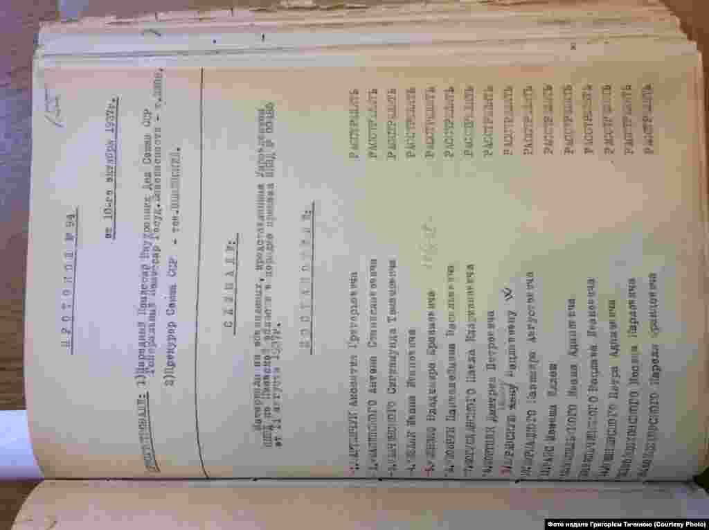 Протокол №94, від 10 жовтня 1937 року за підписами Єжова і Вишинського