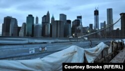 Pamje e Menhetënit nga Ura e Bruklinit në Nju Jork