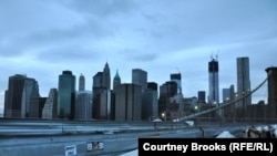 U.S. -- A view of powerless lower Manhattan from the Brooklyn Bridge at dusk, New York, 01Nov2012