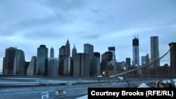 U.S. -- A view of powerless lower Manhattan from the Brooklyn Bridge at dusk, New York, 01Nov2012
