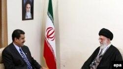 Iranian supreme leader Ayatollah Ali Khamenei (R) meets with Venezuelan President Nicolas Maduro in Tehran, November 23, 2015. File photo