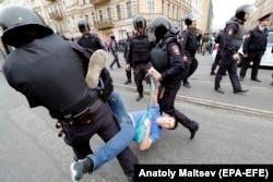 Разгон демонстрантов в Петербурге, 9 сентября 2018 г.