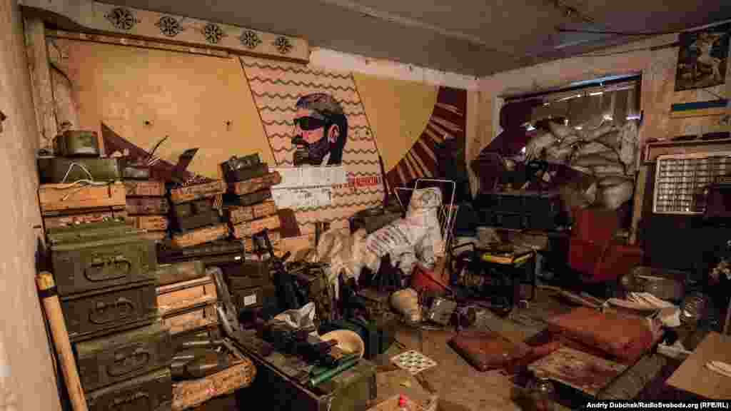 The inside of one of the Ukrainian troops' shelters
