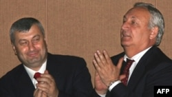 "South Ossetia's Eduard Kokoity (left) has called unification with North Ossetia a ""primary aim,"" while Sergai Bagapsh of Abkhazia has staked his reputation on independence"