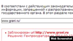 Grani.ru сайты бұғауланғаны жайлы мәлімет.