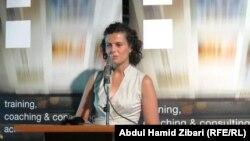 ميرفت عدوان من المنتدى الإقتصادي العراقي الألماني تتحدث في حفل إعلان أسماء الصحفيين الفائزين بمسابقة العين المفتوحة بأربيل