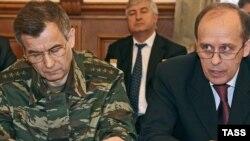 Дагестан -- Оьрсийчоьнан чоьхьарчу гIуллакхийн министр Нургалиев Рашид а, ФСБ-н куьйгалхо Бортников Александр веъна террорца къийсам латторан дийцаршка, ХIинжа-ГIала, 01Оха2010