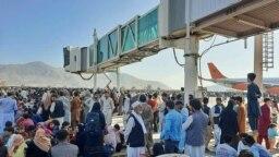 Толпа из желающих покинуть Афганистан в аэропорту Кабула 16 августа