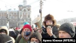 Даниил Чебыкин и другие участники митинга в Омске