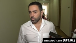 Armenia - Parliament deputy Artur Gevorgian speaks to journalists in Yerevan, 20 June 2018.