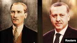 Türkiyənin Baş naziri Recep Tayyip Erdogan partiyasının fəalları ilə görüşdə çıxış edərkən. Divarda onun portreti Atatürkün portreti ilə yan-yana asılıb. 10 avqust 2011