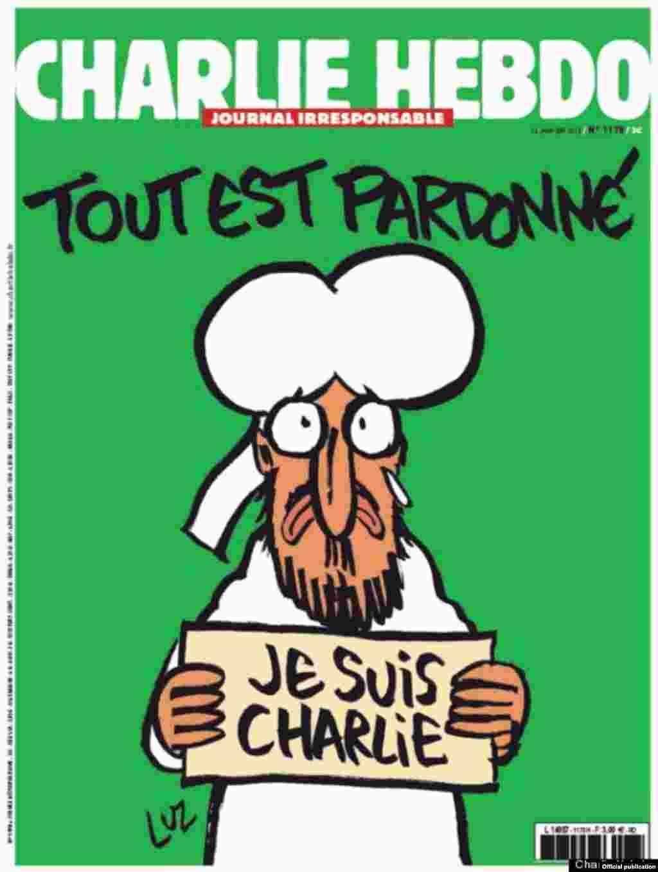 """""""Tout est pardoné"""" - primul număr """"Charlie Hebdo"""" după atentatul din ianuarie 2015..."""