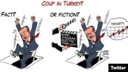 Turkey - Cartoon shared in twitter by #DarbeDegilTiyatro - not a coup, theatre