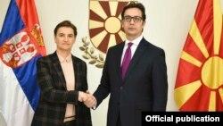 Скопје- македонскиот претседател Стево Пендаровски се сретна со српската премиерка Ана Брнабиќ