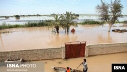 Floods have inundated large parts of Iran since March 19. In this photo flood waters cover fields in oil-rich Khuzestan province. April 2019