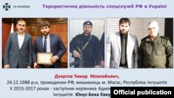 Тимур Дзотов биринчи сүрөттө Ингушетиянын башчысы Юнус-Бек Евкуров менен. Сүрөт украин коопсуздук кызматынын сайтынан алынды.