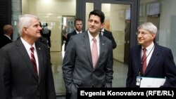 U.S. House Speaker Paul Ryan, visiting RFE/RL headquarters in Prague, March 26, 2018