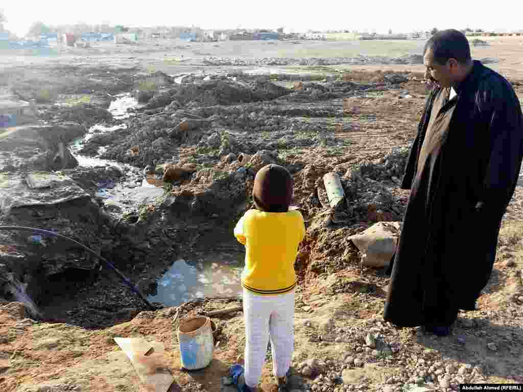 A drained water source in Tikrit, Iraq