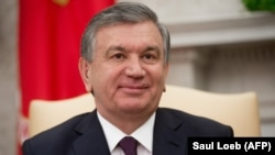 Uzbek President Shavkat Mirziyoev at the White House on May 16