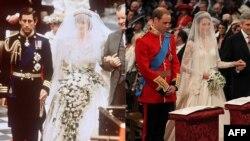 Две королевские свадьбы. Слева - принц Чарлз и леди Диана Спенсер, 1981; справа - принц Уильям и Кейт Миддлтон, 2011