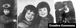 Дети, расстрелянные в Бабьем Яре. Слева направо: Анна Глинберг, Мальвина и Полина Бабат, Валентин Пинкерт