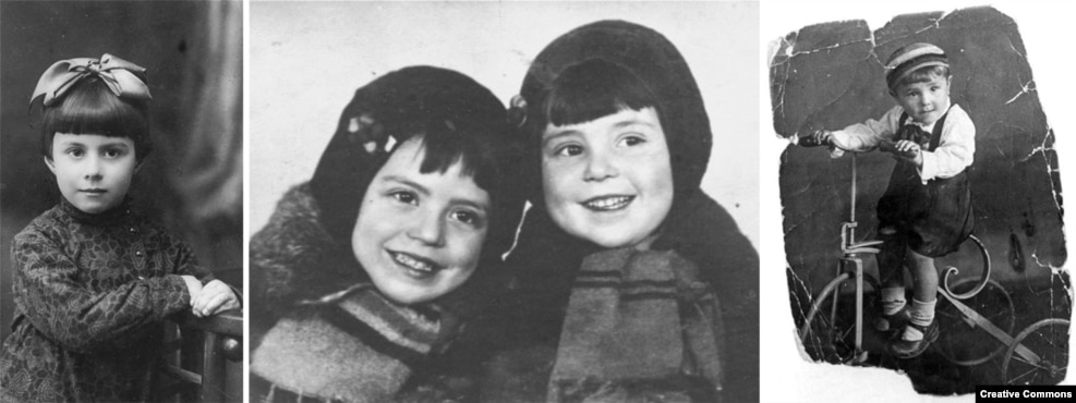 "Some of the child victims of the massacre at Babi Yar. Left to right: Anna Glinberg, Malvina and Polina Babat, and Velvele Valentin Pinkert. One survivor who recalled the events decades later said some locals who had sought to bid farewell to their Jewish neighbors before their ""deportation"" were also shot dead once they reached the ravine. ""It was nothing for [the Nazis] to kill people."""