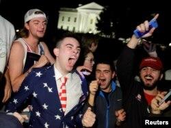 Сторонники Трампа празднуют победу у Белого дома