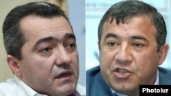 Armenia - Businessmen Ruben Hayrapetian (R) and Arsen Avetisian.