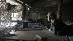 Militar pe front astăzi lângă satul Avdivka, în Donețk.