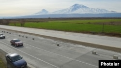 Armenia - The Yerevan-Ararat highway is upgraded as part of the North-South transport project, 2Feb2014.