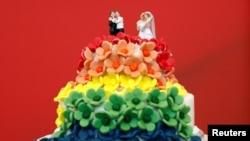 Представители Партии Зеленых отпраздновали принятие закона об однополых браках тортом.