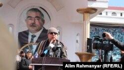 عبدالرشید دوستم حین صحبت در یک گردهمایی در شهر شبرغان مرکز ولایت جوزجان. Feb 19 2020