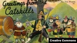 Рип ван Винкль на старой открытке