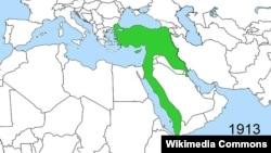 محدوده امپراتوری عثمانی در سال ۱۹۱۳ م.