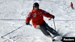 An avid skier, the former Formula One world champion, Michael Schumacher, skis in the northern Italian resort of Madonna Di Campiglio in this 2005 photo.