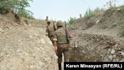 Nagorno-Karabakh - Armenian soldiers on frontline duty in the northern Martakert district, 20Jul2012.