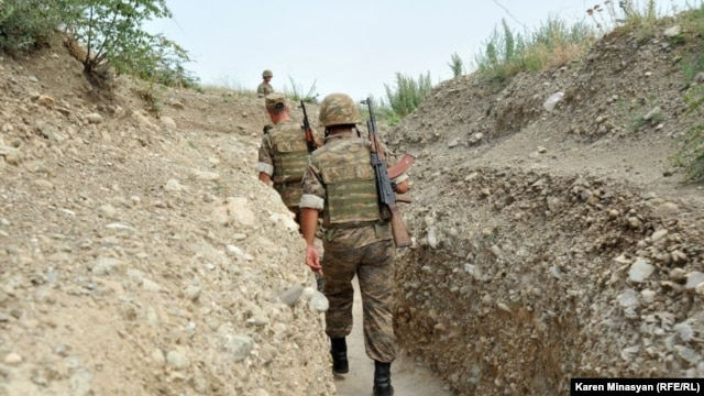 Nagorno-Karabakh -- Armenian soldiers on frontline positions near Mataghis village in northeastern Karabakh, 20Jul2012