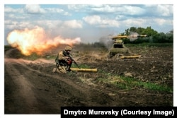 Muravskiy says the Defense Ministry has taken to making posters and advertising material from his war photographs.
