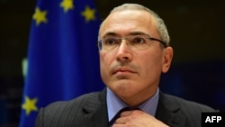 Михаил Ходорковский во время выступления в комитете по международным делам Европарламента в Брюсселе, 2 декабря 2014 года
