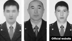Погибшие сотрудники полиции Максат Салимбаев, Аян Галиев и Бауыржан Нурмаханбетов.