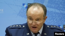 NATO Supreme Allied Commander, U.S. Air Force General Philip Breedlove holds a news conference at the first gathering of the defense ministers of the Global Coalition Against ISIL/Daesh at NATO headquarters in Brussels on February 11.