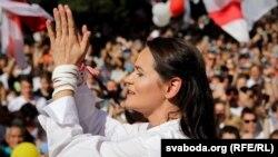 Сьвятлана Ціханоўская. Мітынг у Берасьці. 2 жніўня.